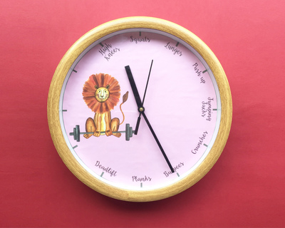 Workout lion wall clock thumb