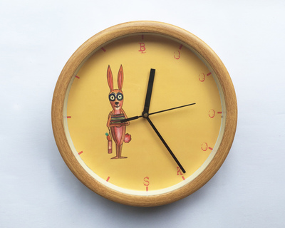 Bookworm rabbit wall clock thumb