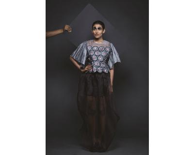 Silk top and sheer skirt thumb