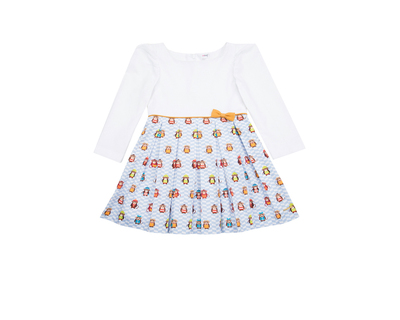 Monkey in blue full sleeves girls dress thumb