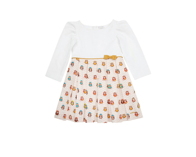 Monkey in peach full sleeves girls dress thumb