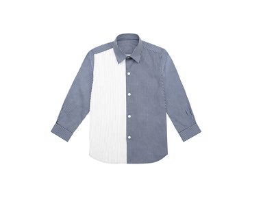 Blue and white pintuck boys shirt thumb