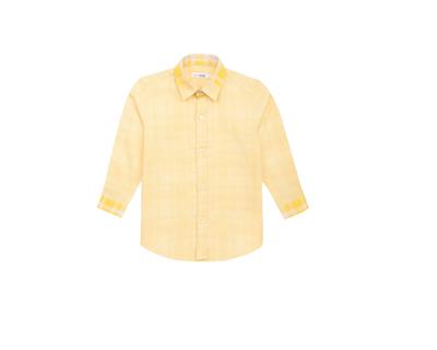 Yellow houndstooth boys shirt thumb