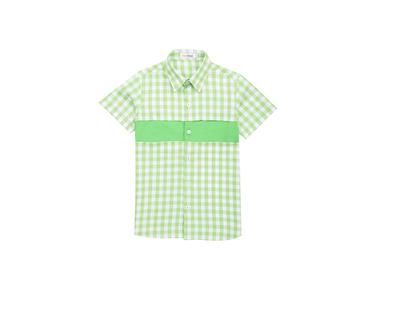 Green gingham boys shirt thumb