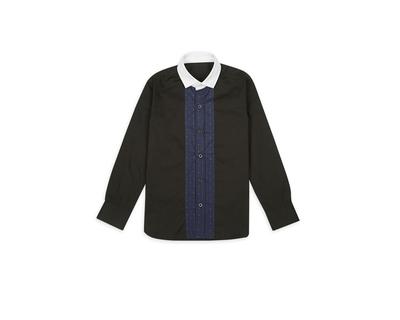 Black with white collar boys shirt thumb