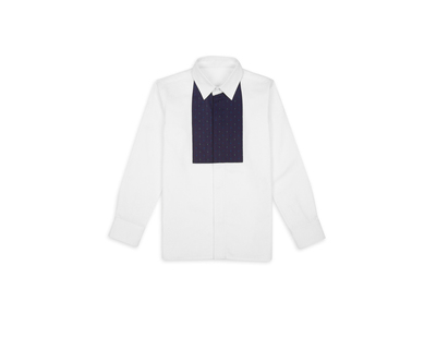 White with blue yoke boys shirt thumb