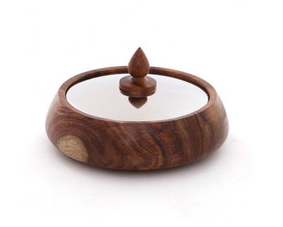 Wood turned stainless steel trinket box thumb