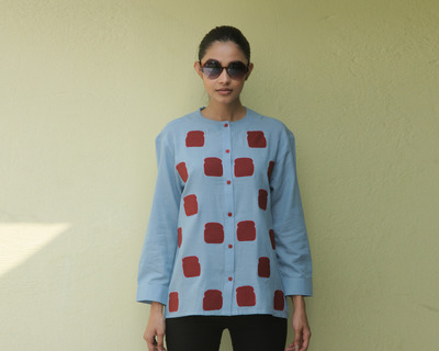 Blue bread embroidered no collar shirt thumb