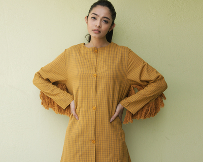 Yellow ochre origgo coat with fringes thumb