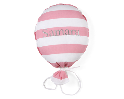 Personalised balloon pink striped thumb