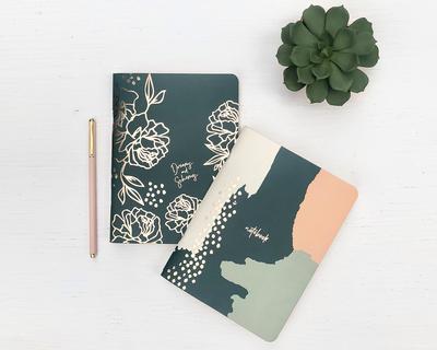 Emerald rose gold notebooks set of 2 thumb