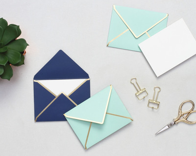 Mini notecards with envelopes personalalized stationery navy mint thumb