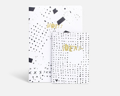 Notes ideas notebook set mmodern abstract with goldf edges thumb