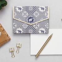 Indigo elephants notecard set small