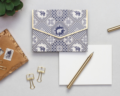 Indigo elephants notecard set thumb