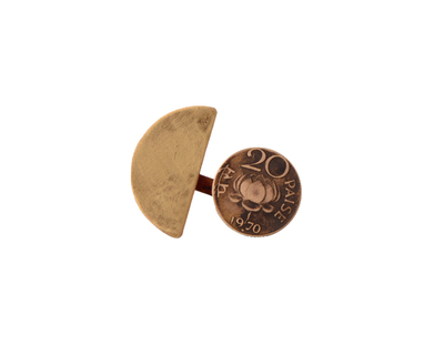20 paisa brass semicircle split ring thumb