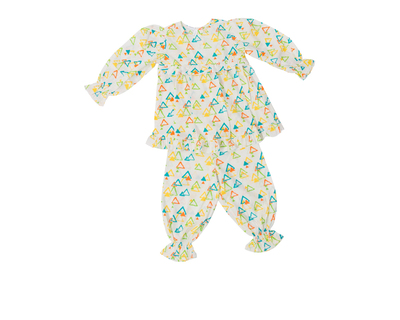 Colorful triangles pajama set for baby girls thumb