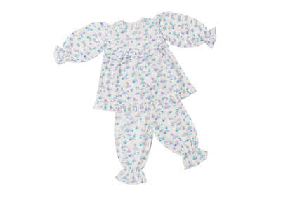 Clouds and planes pajama set for baby girls thumb