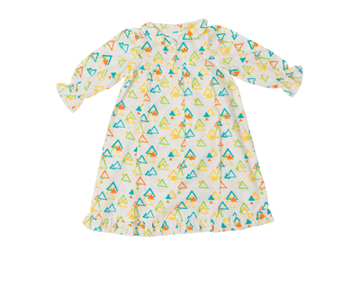 Colorful triangles night gown for baby girls thumb
