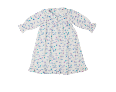 Clouds and planes night gown for baby girls thumb
