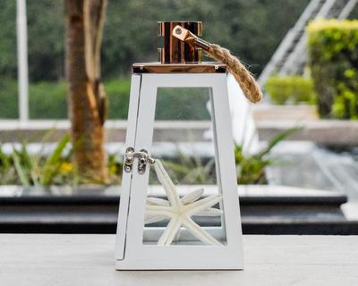 Arwen white and rose gold wooden lantern thumb