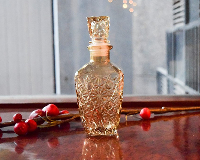 Decorative etched glass bottle small thumb