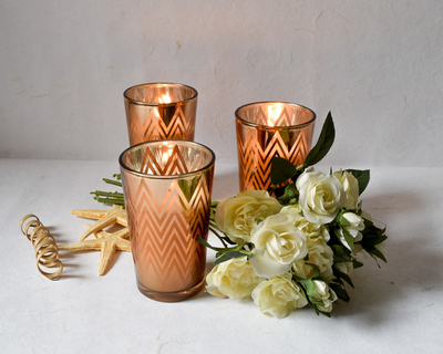Clarisse chevron pattern copper gold candles set of 3 thumb