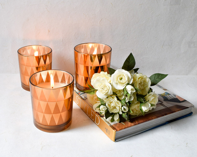 Clarisse triangle pattern copper gold candles large set of 3 thumb