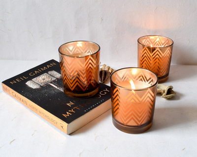 Clarisse chevron pattern copper gold candles large set of 3 thumb