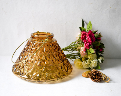 Conical etched glass candle holder thumb
