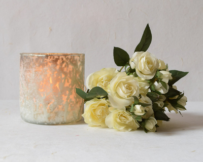 Cylindrical ivory and gold candle holder thumb