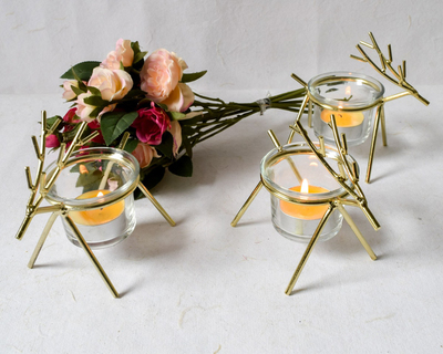 Rudolph gold tea light holder set of 3 thumb