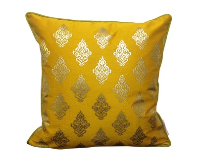 Double sided mustard gold buti cushion cover thumb