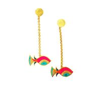 Single fish earrings small