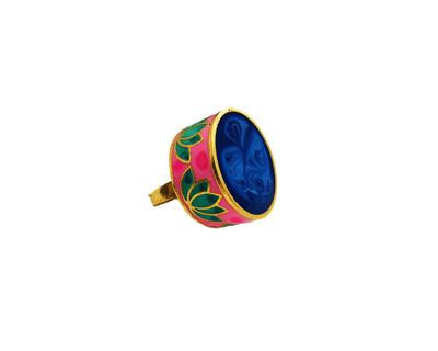 Statement lotus ring blue thumb
