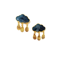 Grey rain clouds earrings small