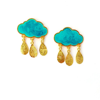 Blue rain clouds earrings small