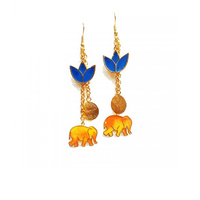 Elephant and flower earrings small