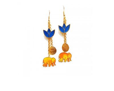 Elephant and flower earrings thumb