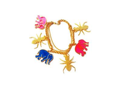Haathi cheeti charm bracelet blue pink thumb