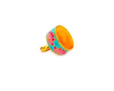 Statement lotus ring orange thumb