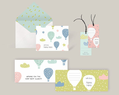 All in one stationery set pastel balloons thumb