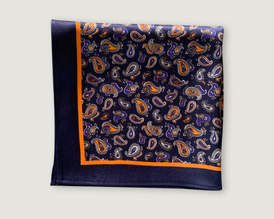 Paisley blue pocket square thumb