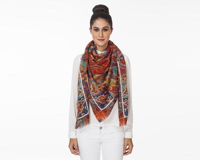 Kashmiri classic square scarf thumb