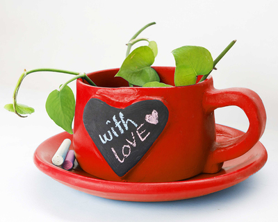 Write on me planter heart red thumb