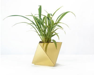 Octahedron brass planter small thumb
