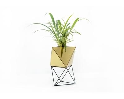 Octahedron brass planter medium thumb