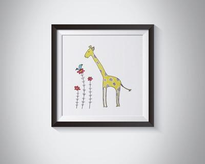 Natty Yellow Giraffe Blue Bird Framed Art Print