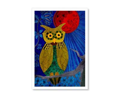 Green owl red moon thumb