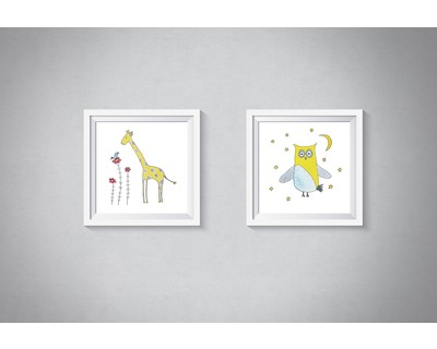 Starry owl and giraffe set of 2 art prints thumb